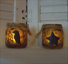Primitive Crow or Star Grubby Jar with Tealight-Crow Decor,Grubby tealight,Country Primitive Decor,Tealight Holder,Grubby Jar,Crow,Star