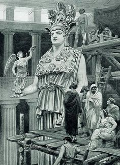 Pericles visits Phidias in the Parthenon. Illustration for Hutchinson's History of the Nations (Hutchinson, c 1915) \