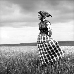 Laura Wilson  Hutterite Girl in Field, Duncan Ranch Colony, Harlowton, Montana, June 17, 1994  Gelatin silver print--- Amon Carter Museum of American Art | An American Collection