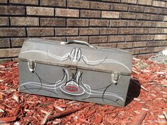 Silver Hand Pinstriped Metal Craftsman Tool Box