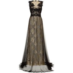 MARCHESA Metallic Lace Gown ($4,137) ❤ liked on Polyvore featuring dresses, gowns, long dresses, vestidos, lace overlay gown, lace overlay dress, floor length gown, lace dress and brown lace dress