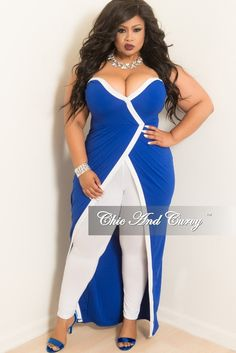 a50bf5748fd Final Sale Plus Size Strapless Faux Wrap Long Dress Top in Royal Blue with  White Trim