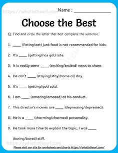 The following worksheet is based on the concept of choosing correct word and filling it.  Some statements may look correct with multiple key.  But each question definitely has only one optimal word to choose from.  It helps students to use it right,   Best Q, English Grammar Worksheets, Choose The Right, English Lessons, Kids Education, Definitions, Sentences, Students, Study
