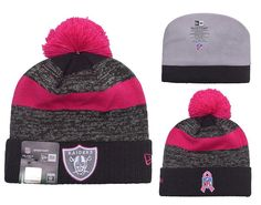 Men s   Women s Oakland Raiders New Era Heather Gray 2016 Breast Cancer  Awareness Sideline Cuffed Pom Knit Beanie Hat e37211050