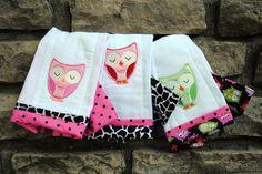 owl burp cloths