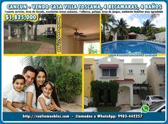 Condominio en Cancun Villa Toscana, vendo casa, 4 Recamaras, mas informes en http://realinmuebles.com