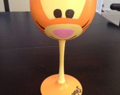 Tigger inspired hand painted wine glass