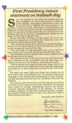 statement on the importance of keeping the Holy Sabbath Day Holy.from the presidency of the LDS church Lds Quotes, Religious Quotes, Prophet Quotes, Sabbath Day Holy, Sabbath Rest, Happy Sabbath, Relief Society Lessons, Lds Church, Church Ideas