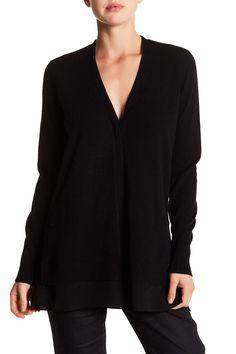 V-Neck Long Sleeve Silk Trim Wool Blend Cardigan