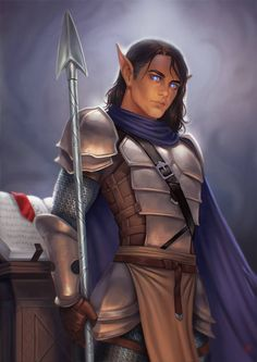 m High Elf Fighter Heavy Armor Cloak Lance Sword male Community Temple Wall Winter Mountain Mitharis by JuneJenssen DeviantArt lg & xlg (saved) Fantasy Races, Fantasy Warrior, Fantasy Rpg, Medieval Fantasy, Fantasy Artwork, Elf Warrior, Elves Fantasy, Dnd Characters, Fantasy Characters