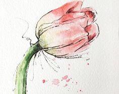 Tulip flower pink original art watercolor painting pen and ink watercolor flower pink tulip hand painted