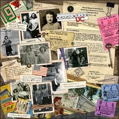 Washington DC ~ Scrap a heritage collage travel page! Include photos from the trip, brochures, ticket stubs and other travel ephemera for a lively and interesting layout.