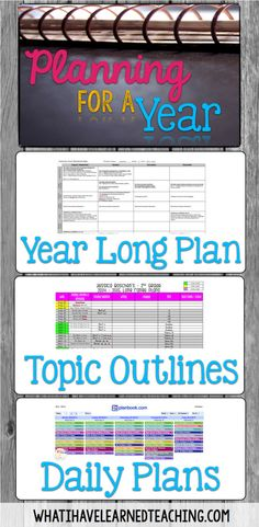 Planning for Next Year: Organizing the Year, the Day's Topics & Lesson Plans is about how to do long term planning and translate it into short term planning. Organize your lessons, plan your curriculum, and see the big picture and small picture of your ye Teacher Organization, Teacher Tools, Teacher Hacks, Teacher Resources, Organized Teacher, Teacher Planner, Lesson Plan Organization, Planner Organization, School Planner