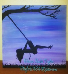 """Country night tire swing"" Girl swinging acrylic paint silhouette on wood. To purchase, contact at rtaylor2484@Yahoo.com. Country girl, southern Belle, free spirit, wild, boho hand painted."