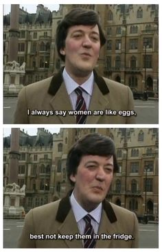 Stephen Fry, a bit of Fry and Laurie British Sitcoms, British Comedy, Celebrities Then And Now, Men Celebrities, Strange Photos, Crazy Photos, Blackadder Quotes, English Comedians, Jeeves And Wooster