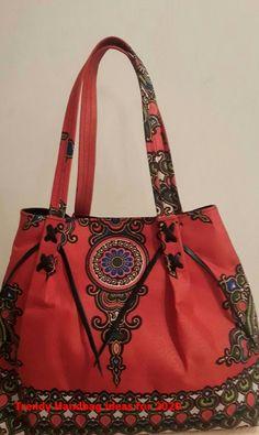 Bright Ankara Print hand bags a hot item. Black Lining with inside pocket . Summer Handbags, Summer Bags, Popular Handbags, Handbags Online, Denim Handbags, Leather Handbags, Quilted Handbags, Trending Handbags, Types Of Purses