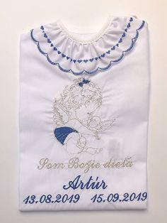 Krstiny / Košieľka na krst K34 modro-strieborná bez golierika