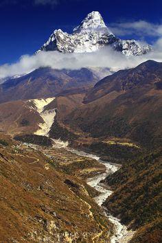 Ama Dablam from hillside near village Pangboche, Nepal