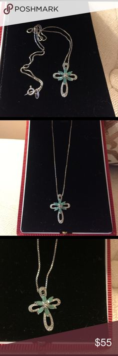 100% silver cross with chain. it's antic looking silver pendent with chain. BEAUTIFUL !!!!  as you can see in photos how beautiful it is and it will always keep its worth because it's silver. Jewelry Necklaces