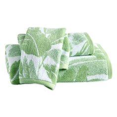 Destinations Miami Leaf Bath Towel, Hand Towel And Washcloth Set (310 CNY) ❤ liked on Polyvore featuring home, bed & bath, bath, bath towels, green, cotton hand towels, floral bath towels, flowered bath towels, tropical bath towels and green bath towels