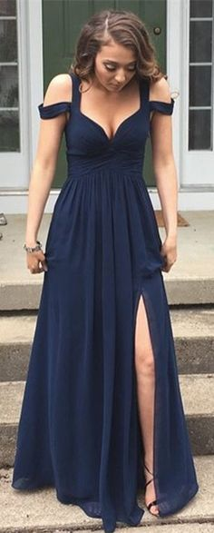 Sexy Navy Prom Dresses with Slit Skirt Graduation Dresses Formal Dress For Teens,Prom Dresses 2017