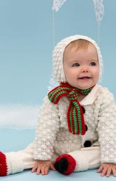Snowman Cutie Baby Set Free Crochet Pattern from Red Heart Yarns