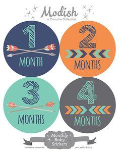 FREE GIFT, Tribal Monthly Baby Stickers Boy, Baby Month Stickers Boy Tribal, Arrows, Chevron, Tribal Nursery Decor, Navy, Mint, Orange