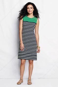 Women's Regular Knit Heritage Dress - Light Meadow Mist Multi Stripe, S from Lands' End on Catalog Spree