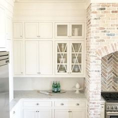 "Kitchen cabinet paint color is ""White Dove Benjamin Moore"". Kitchen brick accent is reclaimed Chicago Brick with a heavy mortar wash. #WhiteDoveBenjaminMoore"