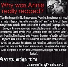 Hunger Games - Annie - Finnick - Screts worth your time - plot twist