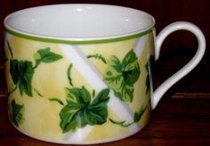 """Waverly GAZEBO Cup(s) Only Green Leaves Vines Yellow Trim Near MINT 2 1/4"""" tall by libertyhallgirl on Etsy $4.99 each"""