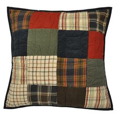 This beautiful decorative pillow adds style to any room for a traditional look. This decorative pillow features a patchwork of reds and browns. Pattern: Patchwork Reverse pattern: Solid Color options: