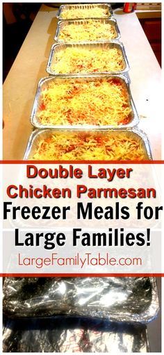 Double Layer Chicken Parmesan Bake | Freezer Meals for Large Families! Freezer Cooking, Chicken Freezer Meals, Cooking Ham, Baked Chicken Recipes, Cooking School, Cooking Salmon, Bulk Cooking, Cooking Recipes, Layer Chicken