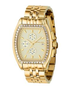 Michael Kors Pave-Bezel Bracelet Chronograph, Golden