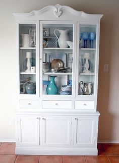 Hutch transformation (almost finished) from Remodelaholic. I really liked this and it brings some inspiration for arranging dishes in my china cabinet. Decor, Furniture, Redo Furniture, Home, White Furniture, Cabinet, Dining Room Updates, Remodelaholic, China Cabinet