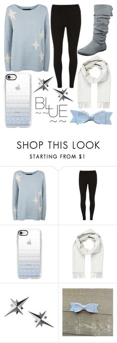 """""""Blue and White"""" by kaitlyn-ashby101 ❤ liked on Polyvore featuring 360 Sweater, Dorothy Perkins, Casetify and Brioni"""