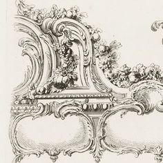 """Print, """"Design for Title Page with Cartouche and Border Design"""", 1748 Still Life Sketch, Ornament Drawing, Antique Picture Frames, Baroque Architecture, Painted Ornaments, Rococo Style, Decorative Panels, Acanthus, Technical Drawing"""