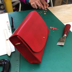 Bag in a day! Leather accessories taster class - this talented maker almost finished this hand stitched beauty in 5 hours! #londoncraft #fashionaccessory #handbag #weekendcourse