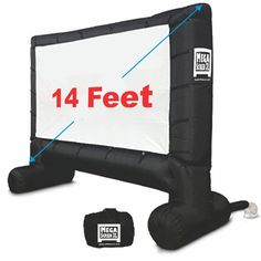 EasyGo Products 14 Inflatable Mega Movie Screen - Canvas Projection Screen for Outdoor Parties - Movie Cinema is Guaranteed to Thrill and Excite. Includes Inflation fan, Tie-Downs and Storage bag Backyard Movie Screen, Outdoor Movie Screen, Backyard Movie Nights, Outdoor Movie Nights, Backyard Movie Party, Outdoor Cinema, Outdoor Projector Screens, Movie Projector Screen, Projection Screen
