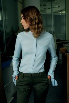 Baby blue shirt & hunter green trousers: Coperni Femme S/S 2015 #style #fashion #workwear