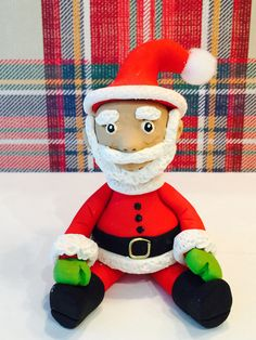 Polymer clay Mr. Santa,Christmas, sculpted Santa, handmade with polymer clay, Whimsical African American Santa. by NaomisSweetStuff on Etsy