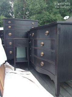 How Nana's Chest of Drawers would look in black! DIY Black Chalk Finish Paint-Dress and Chest of Drawers
