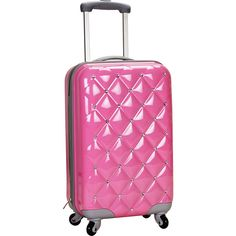 """Rockland Luggage Diamond 20"""" Hardside Spinner Carry-On (120 AUD) ❤ liked on Polyvore featuring bags, luggage and pink"""