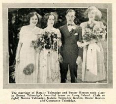 Marriage of Buster Keaton and Natalie Talmadge in 1923, with Norma and Constance Talmadge as bridesmaids - Screenland May 1923