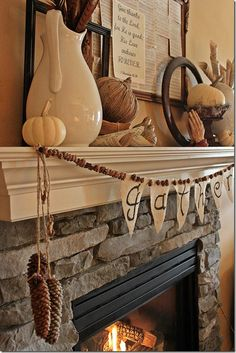 Autumn & Thanksgiving inspiration for Mantle! Certainly invites you to pause & think about why we are celebrating!  Love it!