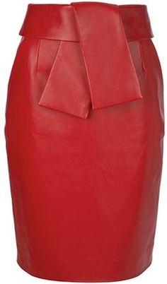 balenciaga-red-calf-leather-skirt-
