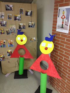 Upcycled cardboard and tubes into a Miro inspired sculpture . Awesome shape to form lesson as well as primary and secondary colors Artists For Kids, Art For Kids, Crafts For Kids, Arts And Crafts, Matisse, Sculpture Art, Sculptures, Primary And Secondary Colors, Kindergarten Art Projects
