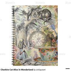 Cheshire Cat Alice in Wonderland Spiral Notebooks