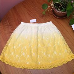 """Skater Skirt Yellow ombré lace skater skirt with scalloped hem. Elastic waistband. Approximately 16"""" long. If you have questions, please ask. Charlotte Russe Skirts Circle & Skater"""