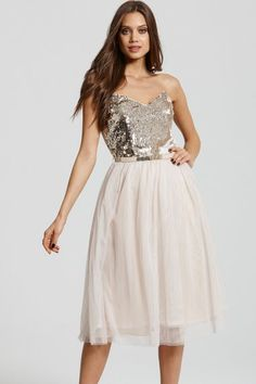 Heavily Embellished Cream and Gold Prom